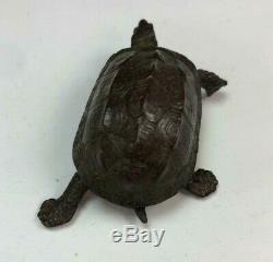 Jizai Okimono Turtle Copper Statue Antique Metal Crafts Ornament Japan Samurai
