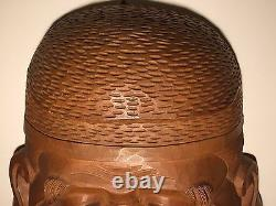 LARGE! Quality, Antique, ca1950, Japanese Wooden Mask of Ebisu Lucky 7 Gods