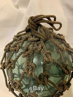 Large Authentic Japanese Roped Glass Fishing Float Bouy Ball Marked