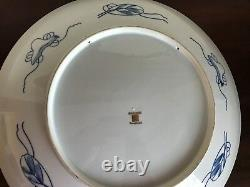 Large Japanese Porcelain Gold Imari Handpainted Red Blue Charger Plate 18