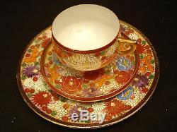 MARKED Kutani JAPANESE MEIJI SATSUMA TEA SET / EGGSHELL CUPS & SAUCERS / PLATES