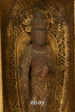 Meiji Japanese Wood Lacquer Buddha Kannon Mini Temple Altar Shrine Zushi Box