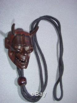 Men Netsuke Noh Mask Hannya Japanese Ebony Wood Carved Strap Rare from Japan F/S
