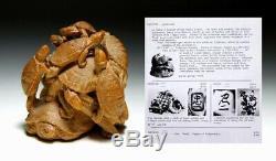 Museum grade quality 19th Century CHUICHI Signed Large NETSUKE 12 turtles D001