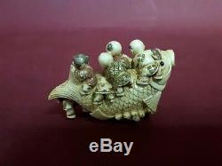 Netsuke Antique Japan Handmade Figurine Sculpture Karako XIX Bone Rare Signed