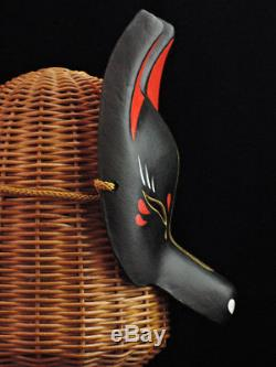 New Japanese fox half mask motif dark night Hand made Antique F/S