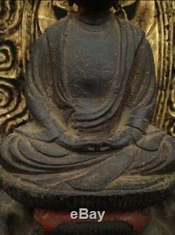 Old Edo Period Japanese Japan, Buddhism Wooden carving Buddha statue 40cm SYAKA