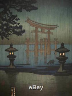 Original Japanese Woodblock Print Miyajima In The Rain By Tsuchiya Koitsu