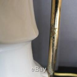 Pair Vintage Blanc de Chine White Kwan Yin Figurine Lamps Seyei China Japan