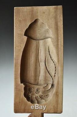 RARE ANTIQUE JAPANESE KASHIGATA Carved Wooden Cake Mold IKA Squid