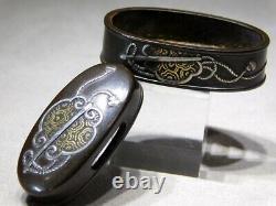 RARE GUNBAI FUCHI/KASHIRA 18-19thC Japanese Original Antique Edo Koshirae Tsuba