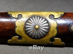 Rare Style TANTO Sword TSUKA KIKUMON Menuki Fuchi/Kashira 19thC Japan Antique
