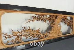Rub1834 JAPANESE WOOD SCULPTURE RANMA UME BROSSOMS BIRD 51 inch 129.6 cm Width