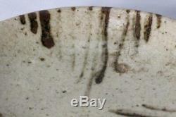 SCBP08 Japanese Antique Shino ware iron painting plate Pottery Momoyama #Japan