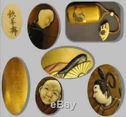 SHOKASAI Inro case netsuke Ojime lacquer shibayama Bijin Fan Japan 19th MEIJI