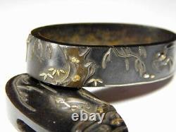 SIGNED Birds KINKO FUCHI/KASHIRA Japanese Original Edo Sword Antique