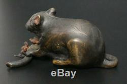 STO48 Japanese Antique Bronze mouse Suiteki (water jug) withbox #Netsuke shodo