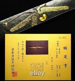 SUPERB HIGO-School Dragonfly Kozuka Certificated Japanese 18-19th C Antique B931
