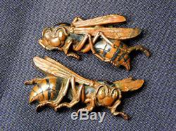 SUPERB Signed Hornet Bee MENUKI 1815 Japanese Edo 19thC Antique for Koshirae