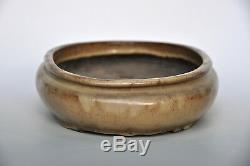 Sansyu Ichiyo Sanshu Rare Antique Japanese Glazed Handmade Oval Bonsai Pot Maple