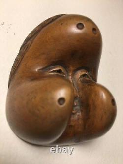 Signed 19th C, Wooden Japanese Otafuku/Okame Netsuke Mask (Mennetsuke)