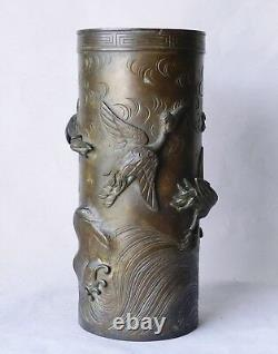 Superb Meiji-era Japanese Bronze Vase Cranes & Waves High-Relief Antique