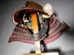TETSUJI HAKKEN SUJI KABUTO w MENPO Mask JAPAN Edo Original Antique Samurai Armor