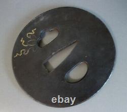Tsuba guard Japan Samurai sword bean natamame inlay sword fitting katana Edo