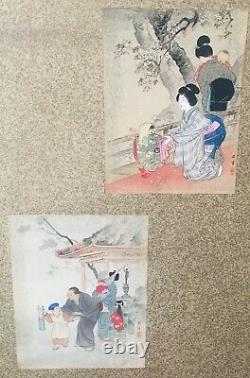 Unusual Antique Japanese 3 Panel Screen Painting with 6 Original Woodblock Prints