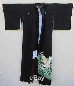 VTG Japanese Tomesode Kimono Formal Black Embroidered & Hand Painted Crane/Waves