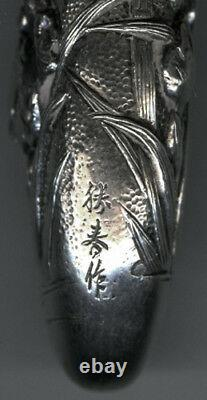Vintage 1900 Silver Japanese Sent Bottle with Iris