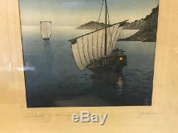 Vintage Antique Japanese Yoshimune Arai Signed Woodblock Sailboats by Moonlight