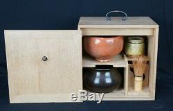 Vintage Chabako Japanese Tea Ceremony box ceramic Raku Ochawan 1950s Japan
