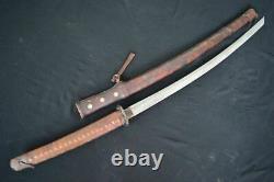Vintage Japanese Cavalry Saber Sword Samurai Katana With Sheath Full Leather