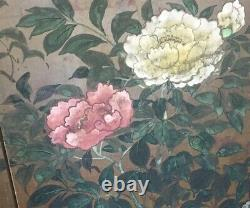 Vintage Japanese Four Panel Screen Painting Artist Signed Floral Motif