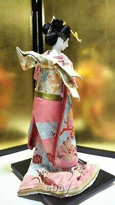 Vintage Japanese Geisha doll in Kimono 21 53cm on wooden base Antique MINT