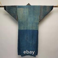 Vintage Japanese Kimono Boro Noragi Cotton Antique Indigo Blue Aizen Patchwork
