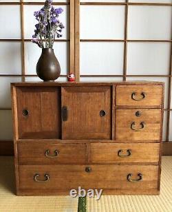 Vintage Japanese furniture 1900s Craft Small Tea Cabinet Cha dansu H. 18.8inch