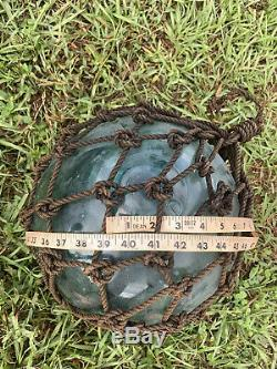 Vintage Large Authentic Japanese Roped Net Glass Fishing Float Bouy Ball Marked