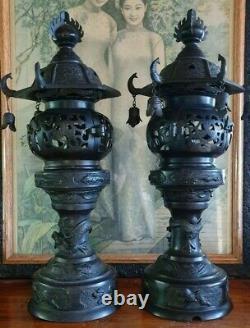 Vintage pair Japanese Bronze Buddhist Lamps / Lanterns
