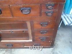 XL Antique 19th C Edo Era 2 Piece Japanese Solid Wood Tansu, Iron Fittings