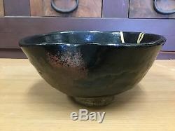 Y0963 CHAWAN Raku-ware large kintsugi Japanese pottery antique bowl Japan