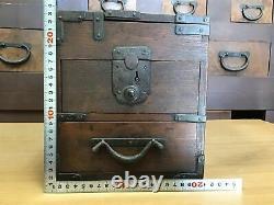 Y1092 TANSU cabinet chest drawers Meiji period zelkova Japanese antique vintage
