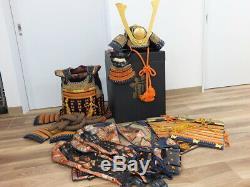 YOROI SET Japan antique Samurai Armor Kabuto Maedate Menpo Kote edo busho