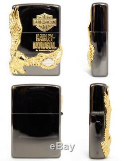 Zippo Oil Lighter Harley Davidson HDP-14 Gold Black Bald Eagle Brass Japan F/S
