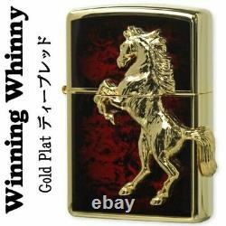 Zippo Winning Winnie Horse Metal Gold Plated Deep Red Brass Oil Lighter New